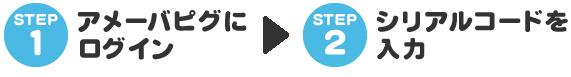 STEP1 アメーバピグにログイン STEP2 シリアルコードを入力